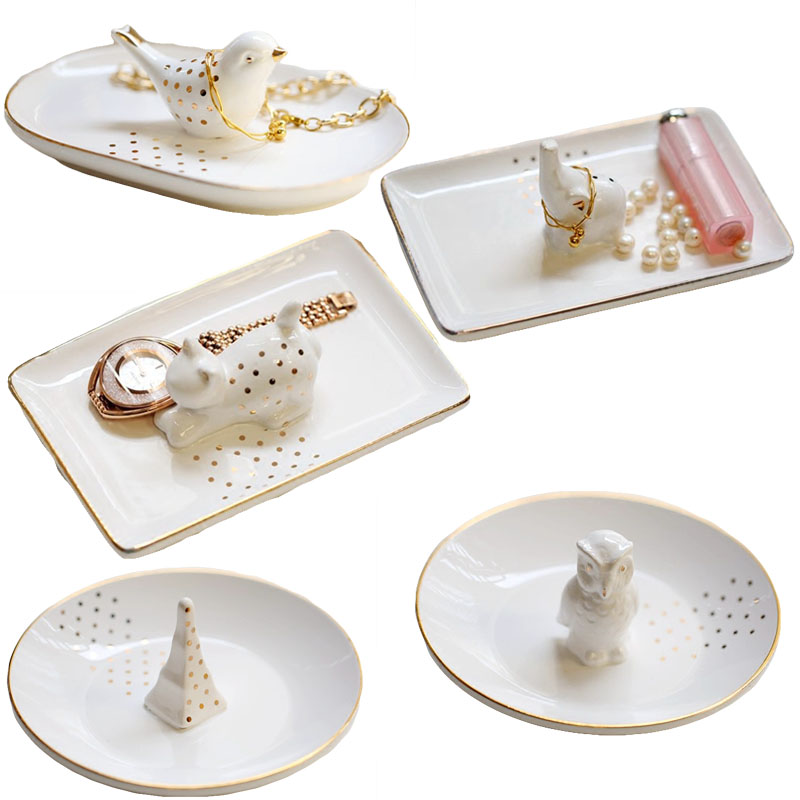 SaiDeKe Home decor ceramic painted gold jewelry trays Ring accessories storage trays bathroom articles for wedding