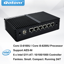 Qotom Mini PC Core i3-6100U i5-6200U процессор Dual core 2.3 GHz 6 LAN pfsense Linux мини пк