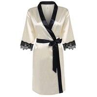 Elegant Kimono Silk Robe Knee Length Bathrobe Sexy Lingerie Sleepwear Short Satin Lace Nightwear Bridesmaid Robes