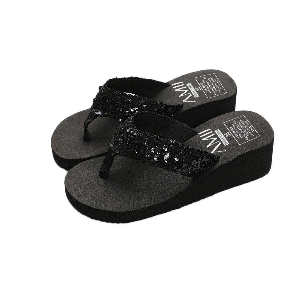 HTB1CWi3cMaH3KVjSZFjq6AFWpXar Summer Women Flip Flops Casual Sequins Anti-Slip slippers Beach Flip Flat Sandals Beach Open Toe Shoes For Ladies Shoes #L5