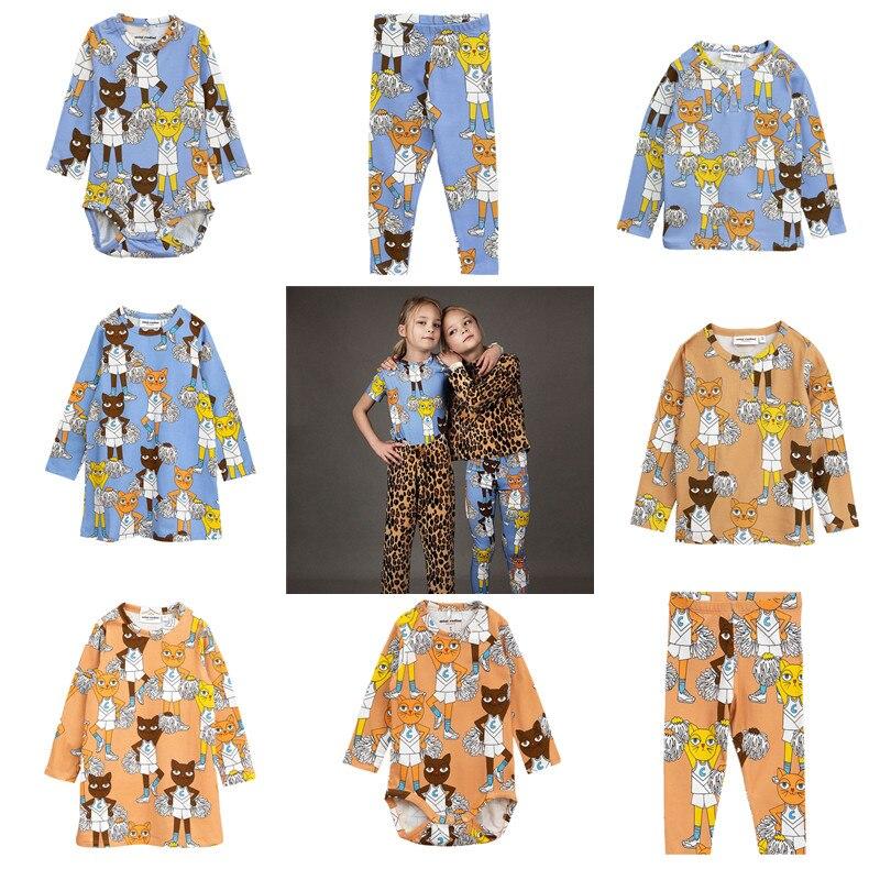BOBOZONE 2018 Cheercats Print dress leggings t-shirt baby body for kids baby boys girls