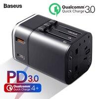 Baseus Quick Charge 4,0 3,0 универсальное usb-зарядное устройство USB адаптер для путешествий C PD QC QC4.0 QC3.0 Быстрая зарядка Международная розетка