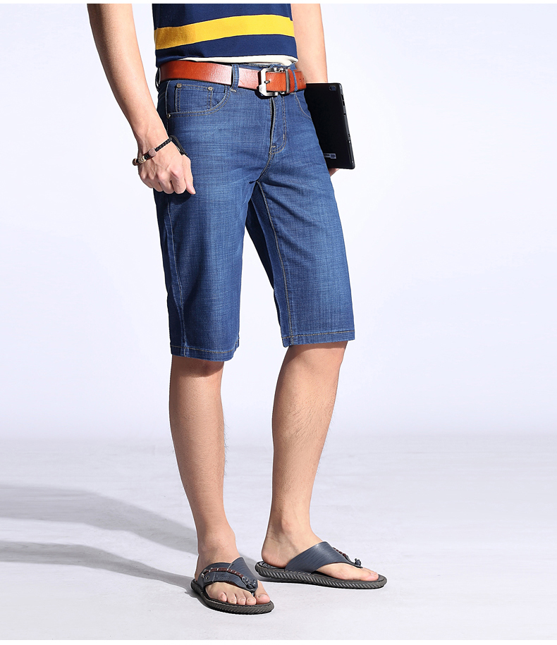 KSTUN Summer Shorts Men Jeans Straight Solid Blue Stretch Thin Regular Fit Business Casual Breathable Soft Material Mens Short Jeans 15