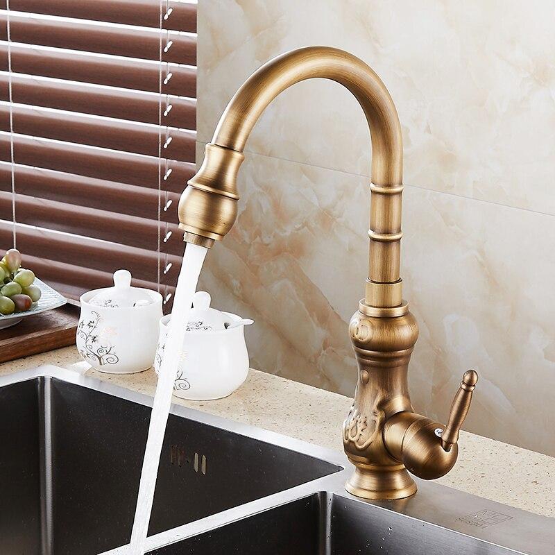 Laiton Antique Carve Art eau chaude et froide robinet d'évier de cuisine 360 degrés Rotation poignée unique/trou cuisine mélangeur robinets KD1289