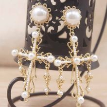 925 silver needle New arrival 2019 pure pearl Cross Drop Earrings for Women jewelry Baroque Bohemian Large Long girls Earrings(China)