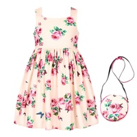 Girls Dress Summer 2017 Brand Toddler Dress With Bag Girls Princess Dress Floral Printing Robe Princesse
