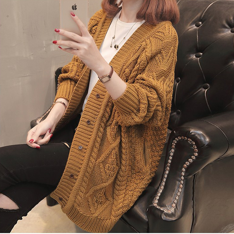 fashion Tricotado Sweater 2018 New Spring Autumn Knitted Sweater Cardigan Women winter Jacket Loose Big yards joker Sweater coat