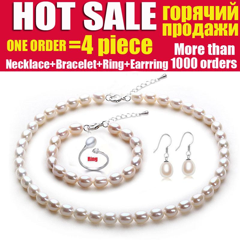 Wedding natural pearl jewelry bridal jewelry sets women White freshwater pearl sets 925 silver earring girl