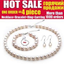 Perla natural de la joyería de la boda, joyería nupcial establece mujeres Blanco conjuntos de perlas de agua dulce pendiente de plata 925 mejor regalo de cumpleaños de la muchacha