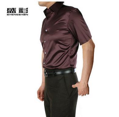 Новое поступление, летняя стильная шелковая Повседневная однотонная мужская рубашка с коротким рукавом, трендовая модная повседневная рубашка из искусственного шелка - Цвет: coffee