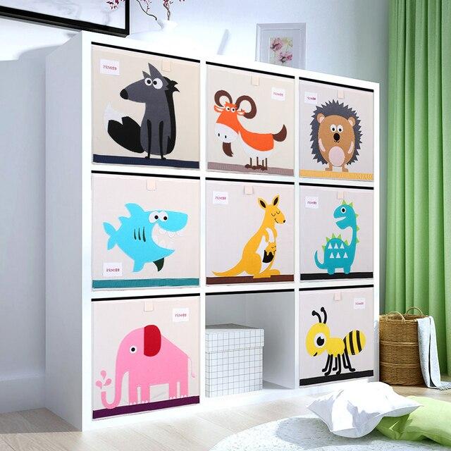 3d التطريز الكرتون الحيوان أضعاف التخزين أشتات مربع طفل لعبة الملابس المنظم صندوق الأطفال القطن القماش تنظيم تخزين بن