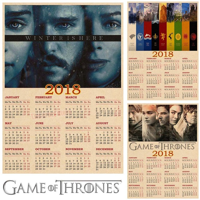 game of thrones 2018 calendar poster vintage retro movie antique poster wall sticker home decora