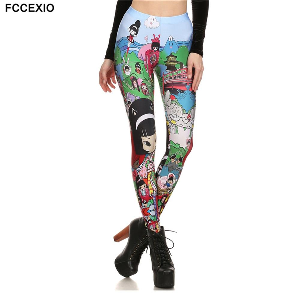 Fccexio Tinggi Quaily Elastisitas Anime Jepang Dicetak Fashion Slim Fit Legging Olahraga Celana Kasual Celana Legging Untuk Wanita Slim Fit Leggings Fashion Leggingsleggings Fashion Aliexpress