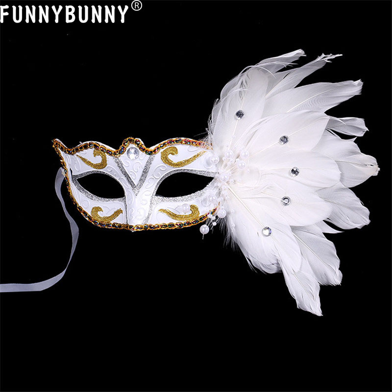 White Masquerade Stick Feather Mask Couple Wedding Engagement Dance Prom Party