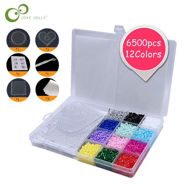 $ US $9.18 6500pcs perler beads Toys 2.6mm 12colors hama educational Kids diy toys beads Puzzle with pegboard ironing paper tweezer GYH