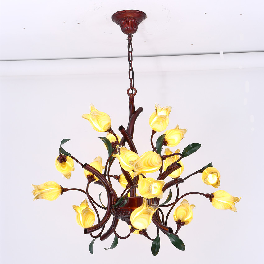 LED Chandelier Lighting American Style Chandeliers Kitchen Light Fixtures Metal+Tulip Glass Lampshade Free Shipping led lamp creative lights fabric lampshade painting chandelier iron vintage chandeliers american style indoor lighting fixture