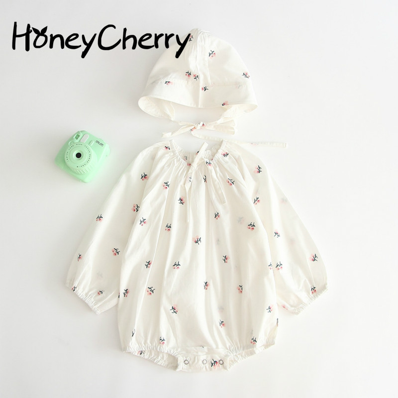 Pure Cotton Long-sleeved Crawling Bodysuits South Korean Version Of Autumn Baby Girl Clothes With Hats And One-piece Clothes