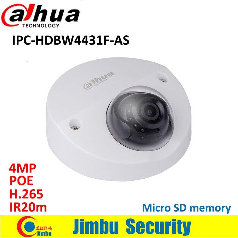 Dahua IP Camera 4MP Mini Dome IPC-HDBW4431F-AS IR20m IP67 support IK10 POE Micro SD memory CCTV camera Smart Detection supported