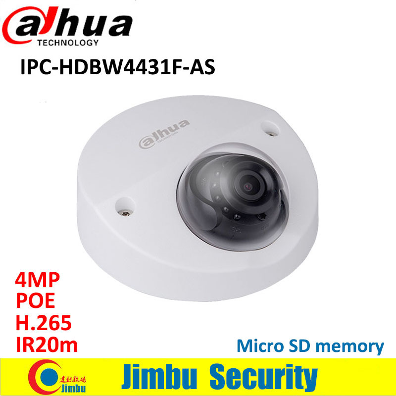 Dahua IP Camera 4MP Mini Dome IPC-HDBW4431F-AS IR20m IP67 support IK10 POE Micro SD memory CCTV camera Smart Detection supported