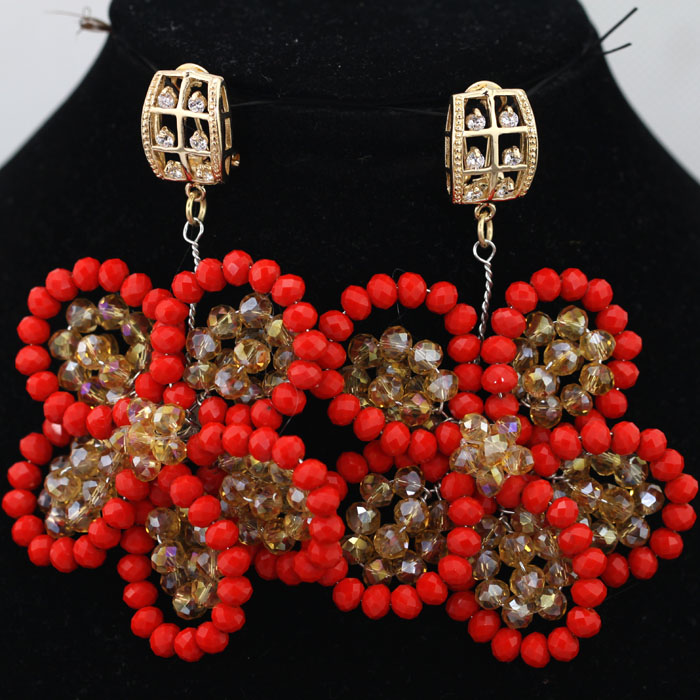 Romantic Crystal Beads Floral Drop Earrings 5 Pairslot RedGold