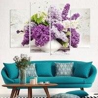 ממוסגר אמנות קיר הדפסי בד תמונות פרח גדול ציורי הידראנגאה עציצים טפט סלון ציור שמן פרח סגול