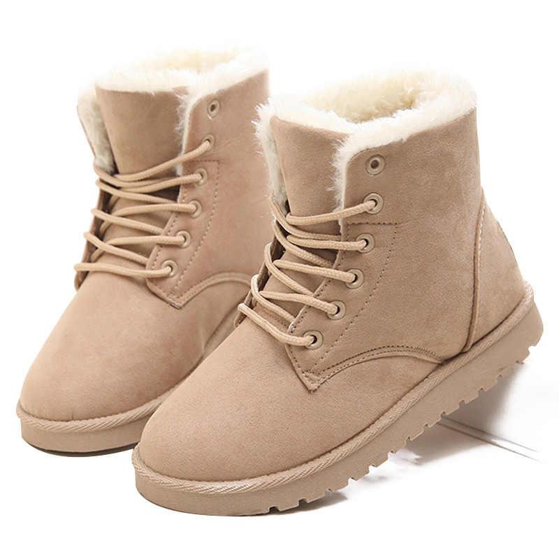 LAKESHI sıcak kadın botları kış sıcak kar botları Botas Mujer Lace Up kürk yarım çizmeler bayanlar kış kadın ayakkabı siyah NM01
