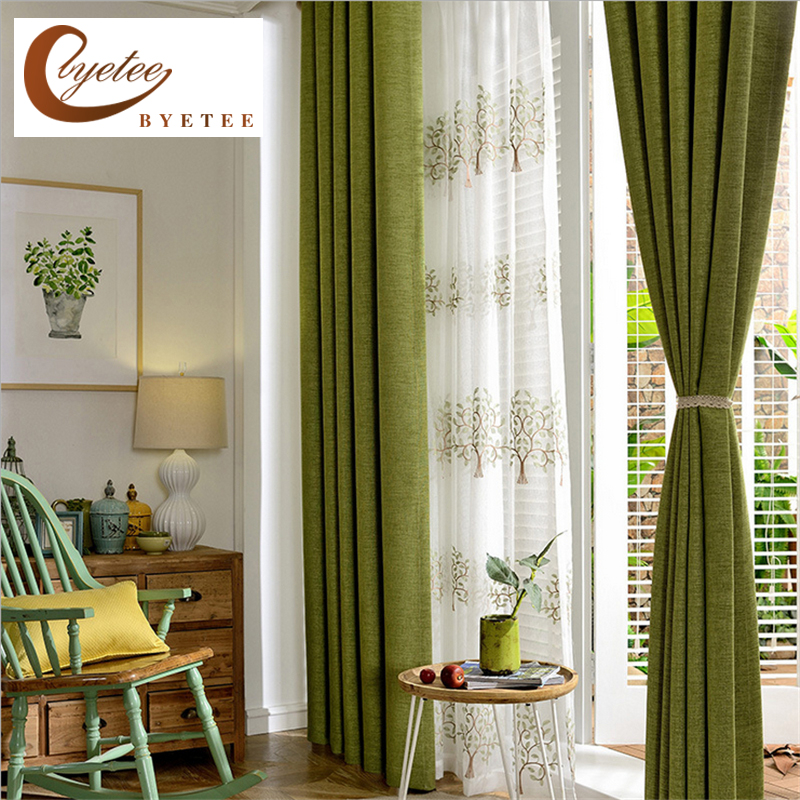 byetee Modern Faux Cotton Linen Green Window Curtains for Living Room Quality Bedroom Curtain Door Curtain for Kitchen