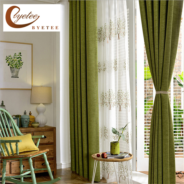 Byetee Modern Faux Cotton Linen Green Window Curtains For Living Room  Quality Bedroom Curtain Door Curtain Part 36