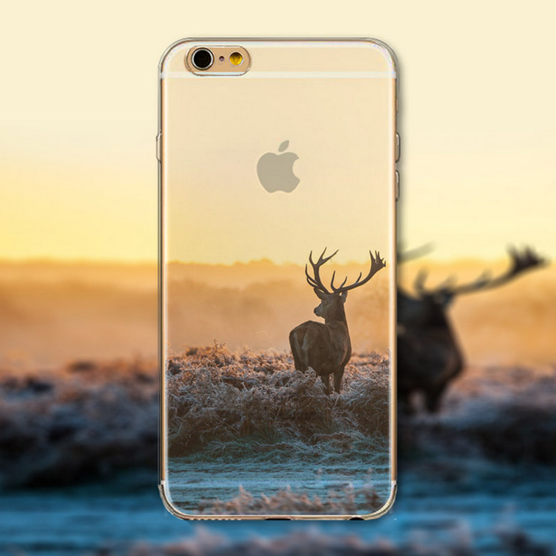 New Landscape Flexible Soft Half Transparent Rubber Clear TPU Scenery Case for coque iphone 6 6s 5 5s Deer Eiffer Tower Fundas