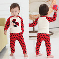 Retail 2017 Autumn style Infant clothes Clothing sets Ladybug 2pcs(Full Sleeve + Pants) Baby clothes Free Shipping