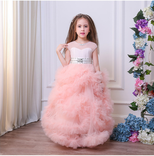 Princess Flower S Dresses For Wedding 2018 Stunning Puffles Elegant Birthday Perform Gowns Pageant Dress