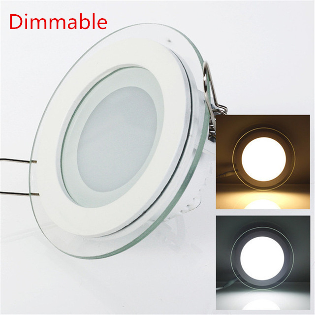 Dimmable LED Panel Light Round/Square Glass Panel Downlight 6W 12W 18W Ceiling Recessed Lights Spot Light Indoor Lamps AC85-265V