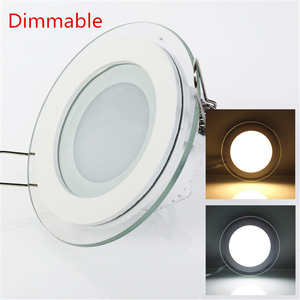Dimmable LED Panel Light Round/Square Glass Panel Downlight 6W 12W 18W Ceiling Recessed Lights Spot Light Indoor Lamps AC85-265V(China)