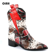 OIAH Motorcycle Boots For Women Winter 2019 Fashion Shoes Pointed Toe Slip On Ankle Snake Skin Combat Ladies