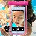Venta caliente universal de sellado a prueba de agua cubierta de la caja del teléfono teléfono de fluorescencia seco bolsa de verano bolsa de buceo para el iphone/android teléfono