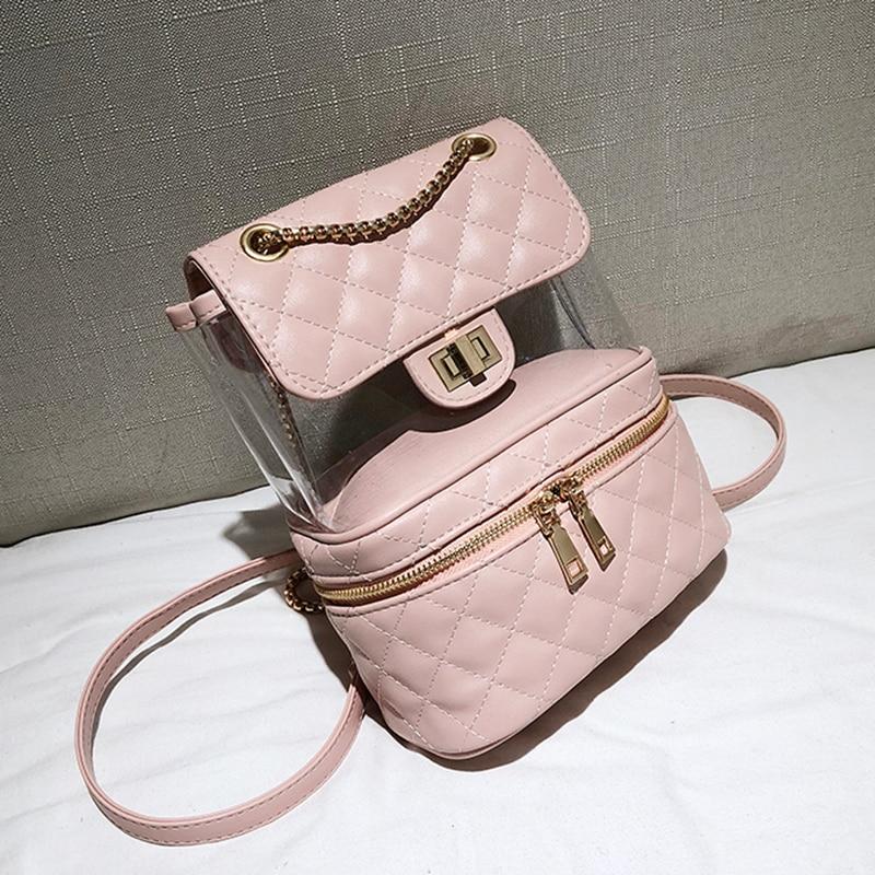 Diamond Lattice Leather Backpack Women Backpacks Teenage Girls Transparent School Bag High Quality Women Backpack Bag Sac a dos