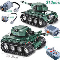 RC Tiger Tank 313PCS Technic Motor Power Function MOC Building Blocks Bricks Military War DIY Technician Toys for boys