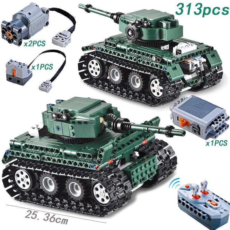 RC Tiger Tank 313PCS legoing Technic Motor Power Function MOC Building Blocks Bricks Military War DIY Technician Toys for boys