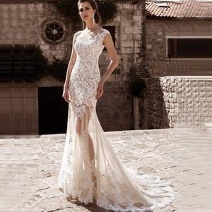 Image 2 - Charming Mermaid Wedding Dresses Detachable Train Bridal Gown Scoop Cap Sleeves Lace Vestidos de Novia Robe de Mariee
