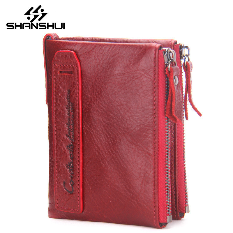 Genuine Leather Women Wallet Bifold Wallets ID Card Holder Coin Purse With High Quality Double Zipper Small Women's Purse Red mens wallets black cowhide real genuine leather wallet bifold clutch coin short purse pouch id card dollar holder for gift