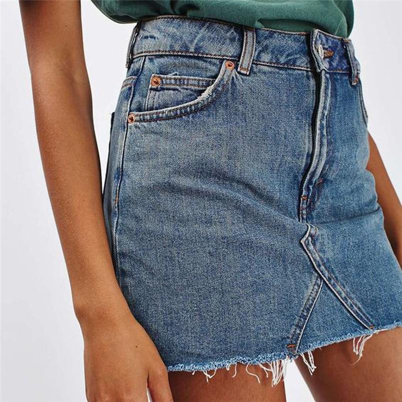 514eadb40 Women Jean Mini Skirt High Waist Casual A-Line Denim Casual Distressed Short  Jean Skirt Falda Jupe  G03