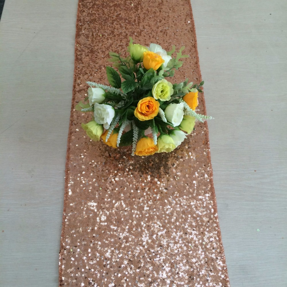 ShinyBeauty 12 By 108Inch /12 By 72Inch High-grade Rose Gold Sequin Table Runner Wedding Sparkly Bling Wedding Party Decoration
