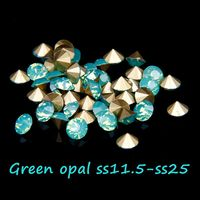 Retail Round Glass Rhinestones Ss11 5 Ss25 Green Opal Color Pointback Crystal Stones For Jewelry DIY