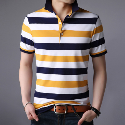 Design Men   Polo   Shirt 2019 Fashion Summer Business Casual Breathable Striped Short Sleeve   Polo   Shirt Clothes