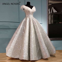 Long Luxury Arabic Ball Gown Silver Glitter Evening Dress 2019 with Feather Saudi Arabia Dubai Moroccan Sexy Formal Prom Gowns