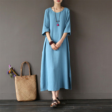 Johnature Women Double Cotton Dress 2018 Summer New Half Sleeve O-Neck Loose Casual Robe Soft Solid Color Women Dresses