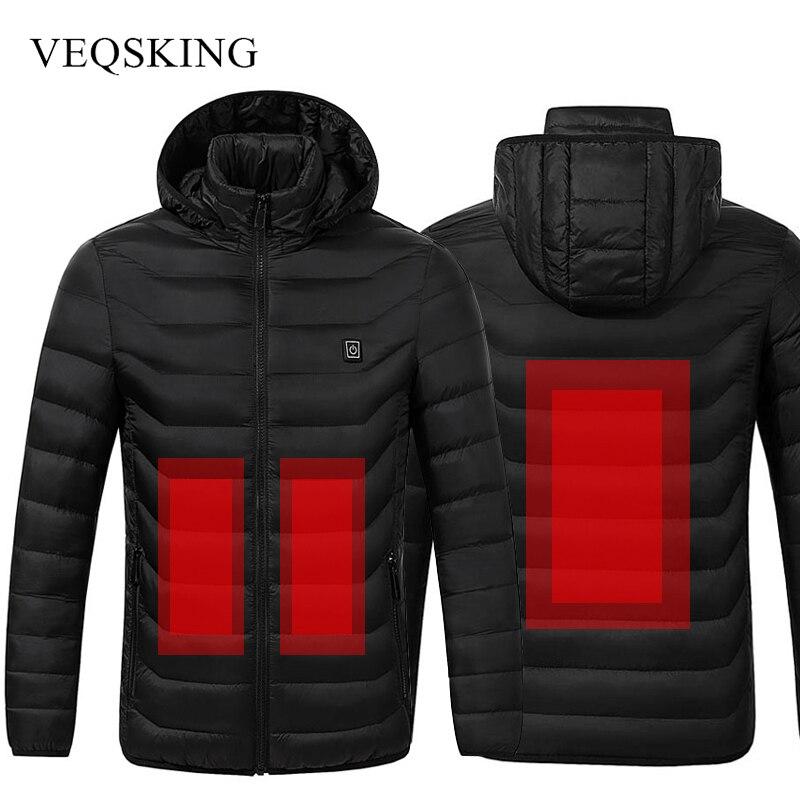 Winter Warm Heating Jackets Waterproof Men Hiking Heated Jackets Men s Clothing Skiing Cotton Coats Black
