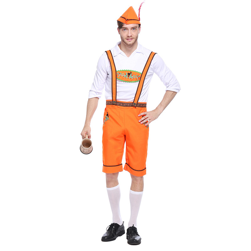 Costumes Adult Men Beer Festival Orange and White Suspenders+Top+Hat Suit National Costumes Oktoberfest Event Cosplay Costumes