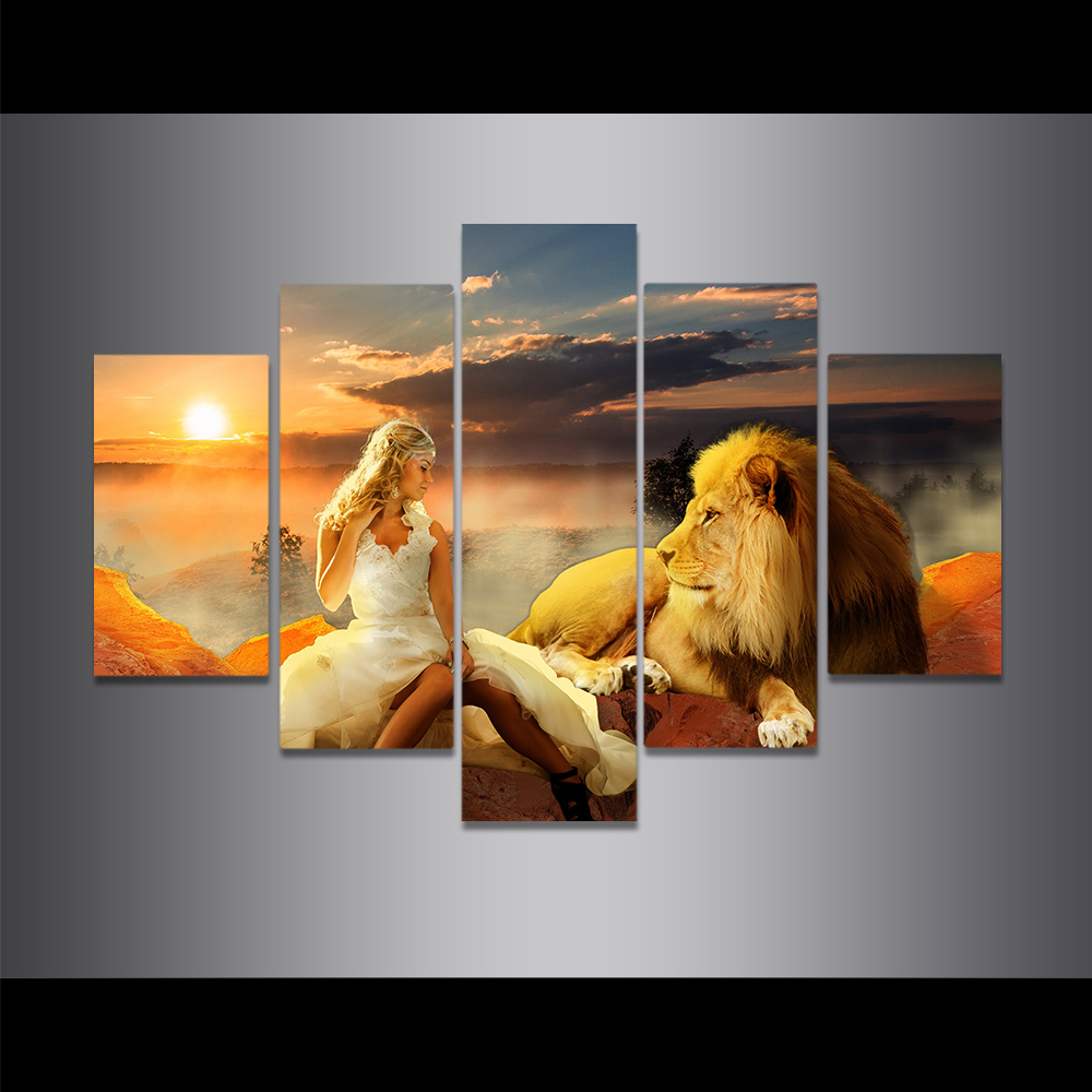 Unframed Canvas Painting Dusk Cloud Sea Lion And Beauty Picture Prints Wall Picture For Living Room Wall Art Decoration