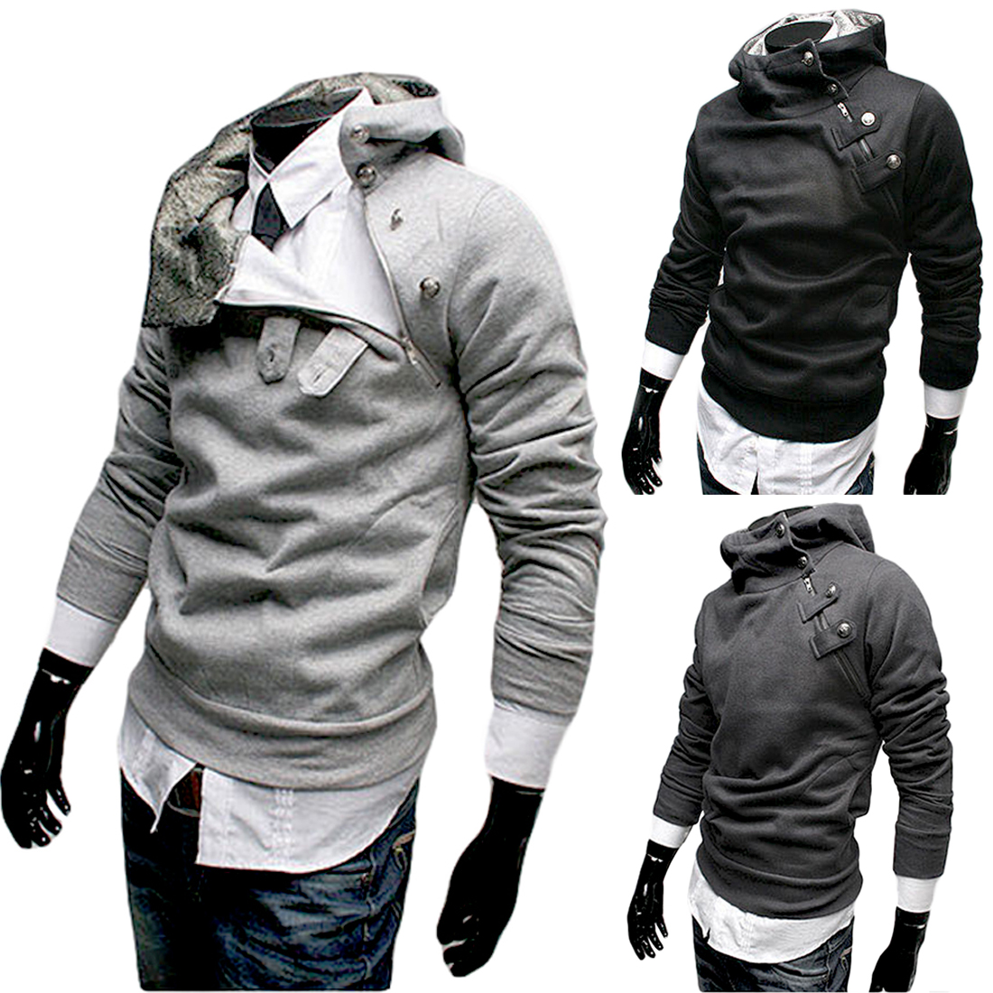 2017 Hooded supreme Hoodies Men Black Grey Tilt Zip Fashion Sweatshirt Casual Pullover Hoodies Slim Hot